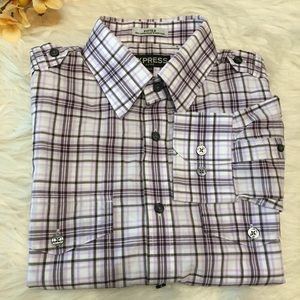 Express Men's Fitted Plaid Shirt Size S 14-14.5